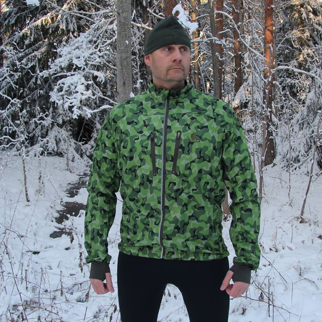 Excellent mini camouflage in M90 green on the Running Jacket M90 MI.