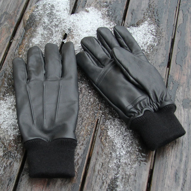 Upper and palm of a pair of Officer Black Leather Glove.