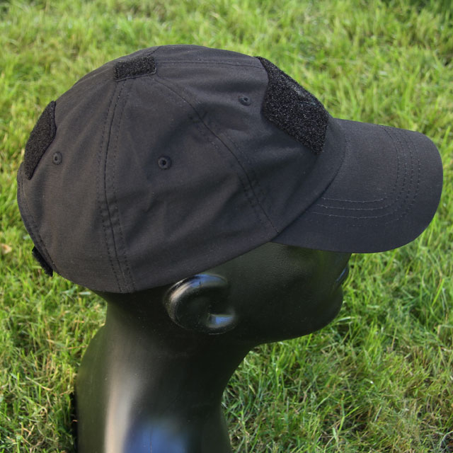 Tactical loop on front, top and back on a Baseball Cap Black.