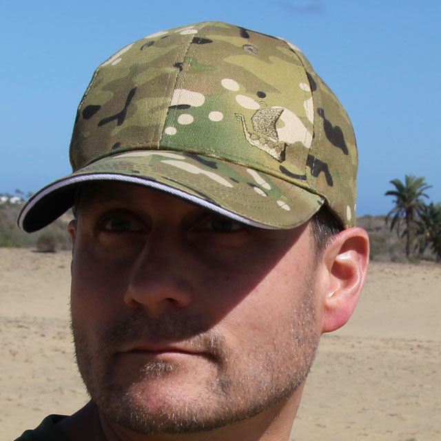 Sitting perfectly on your head, showing a Baseball Cap Multicam Type.