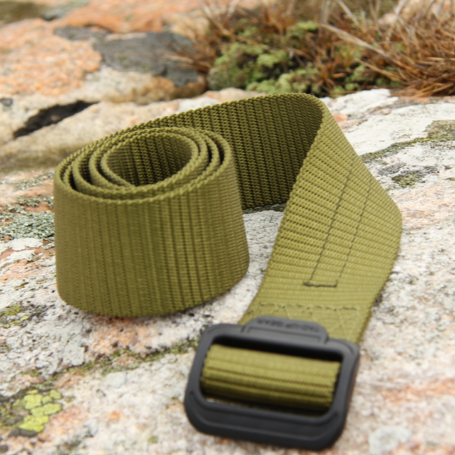 Rolled and flat on stone - Expedition Belt Green.