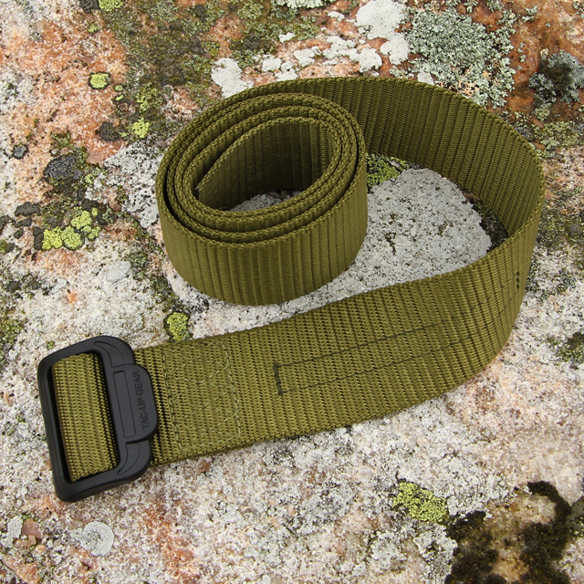 Stony background with lava on photo of a Expedition Belt Green.