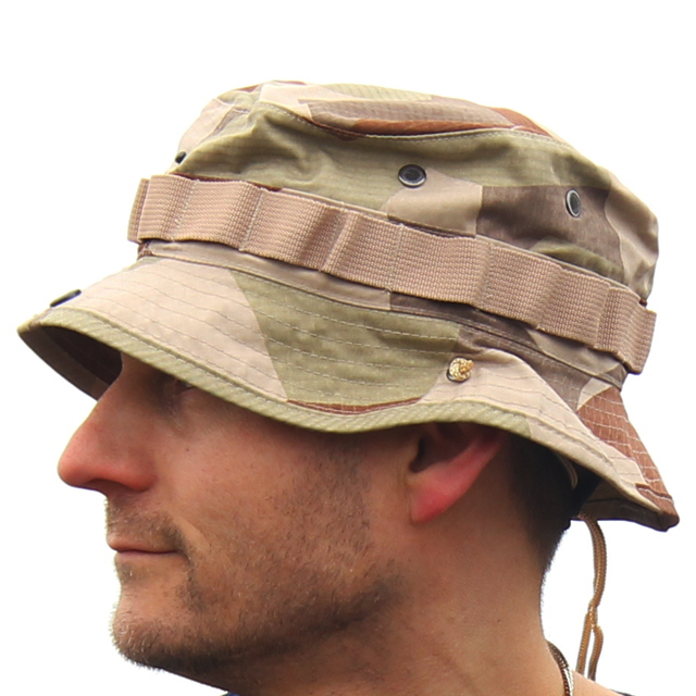 Sideview of the Boonie Hat M90K Desert worn by model.