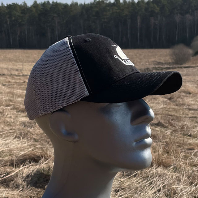 Mesh Cap Black and Grey from TAC-UP GEAR seen from the side on mannequin.