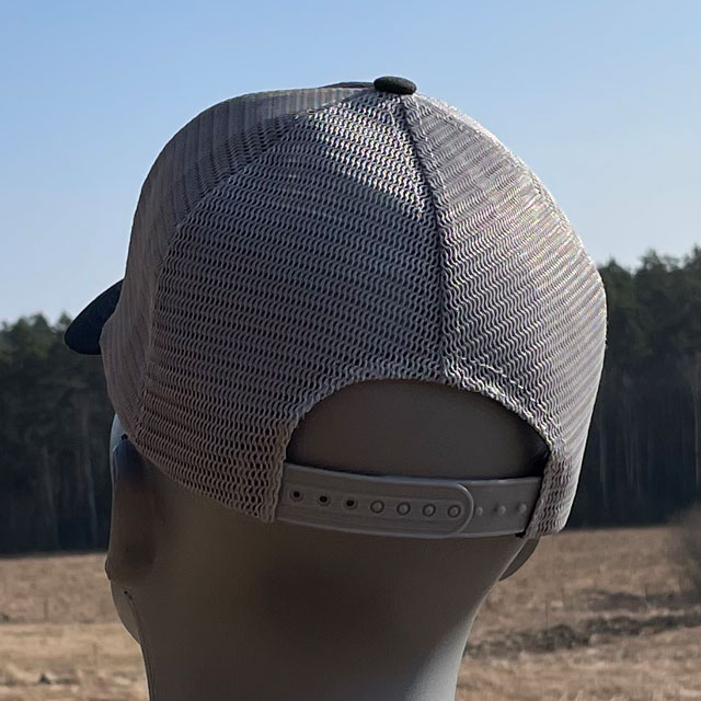 Mesh Cap Black and Grey from TAC-UP GEAR seen from back on mannequin showing the snapback closure.