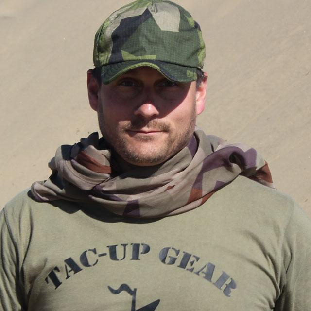 Desert Scarf M90K worn around the neck during desert photoshoot.