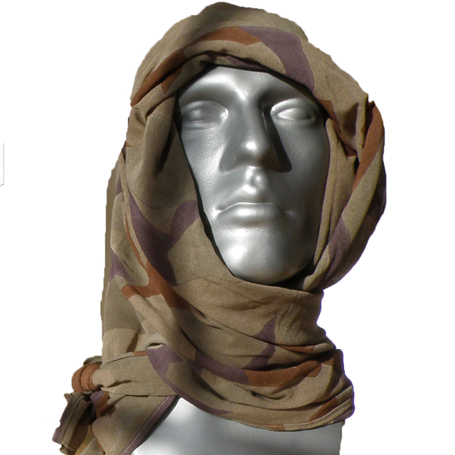 Manequin wearing a Desert Scarf M90K around the head for product picture.