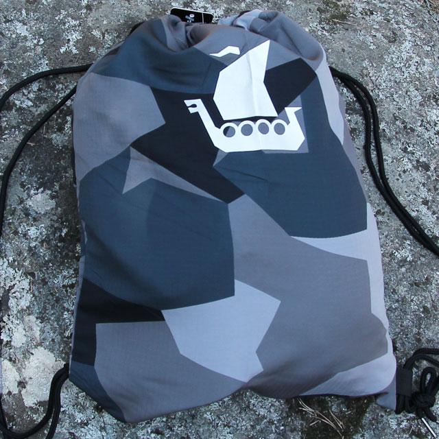Vikingship logo in silver print on a Drawstring Sports Bag M90 Grey