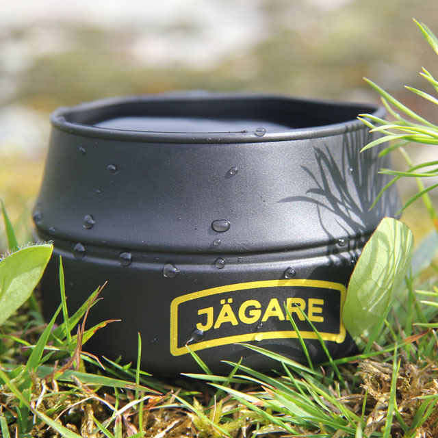 Showing the Jägare print on a Folding Cup JÄGARE Black/Yellow/Black.