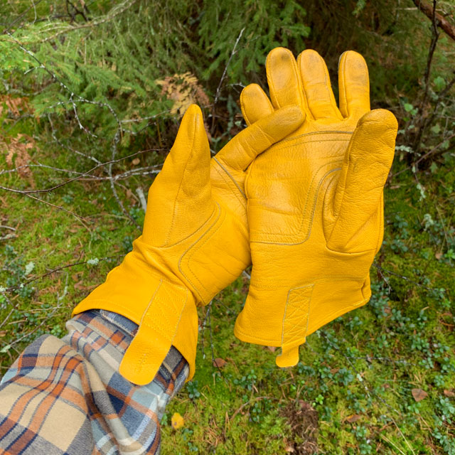 Bushcraft Leather Gloves with thew Swedish forest as background