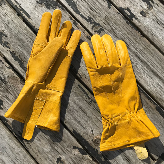 Yellow Goatskin Bushcraft Leather Gloves.
