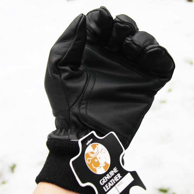 Double layer palm area on a Officer Black Leather Glove.