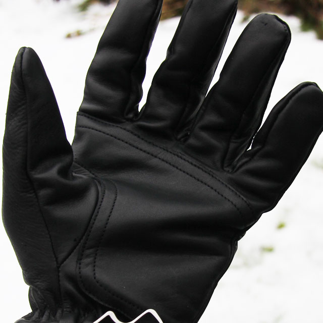Officer Black Leather Glove black shiny and soft leather palm and fingers.