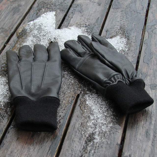 Snow and ice and two Officer Black Leather Gloves.