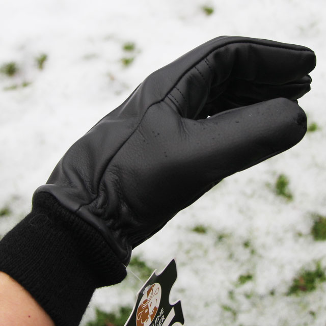 Sideview of a Officer Black Leather Glove.