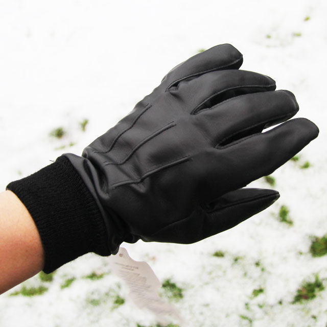 Officer Black Leather Glove three stripe upper area.