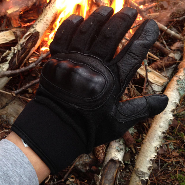 Black OPPO Glove and a fire.