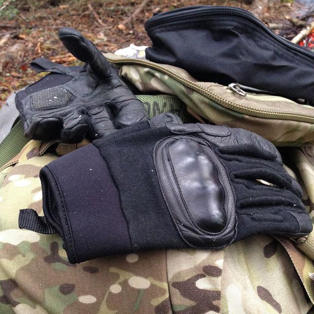 Oppo gloves on a multicam rucksack.