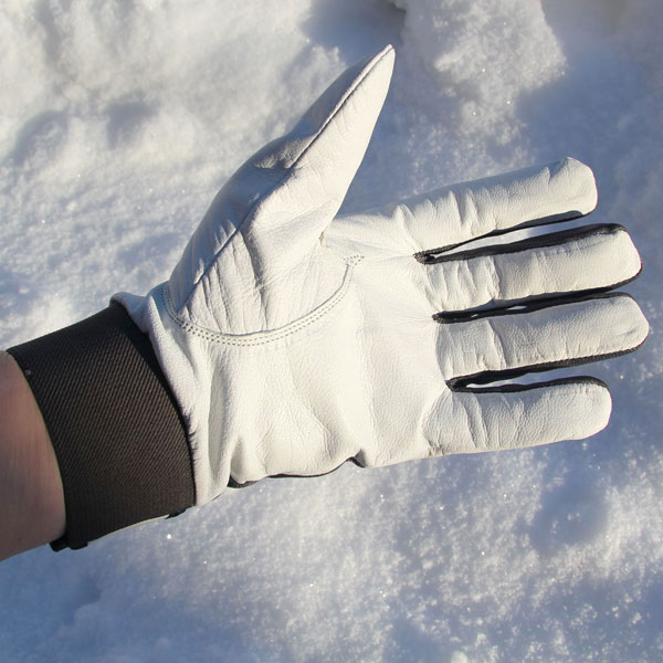 White leather palm area on a Permafrost Glove.