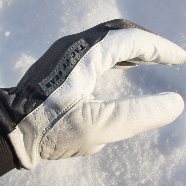 Sideview showing the white leather on a Permafrost Glove.