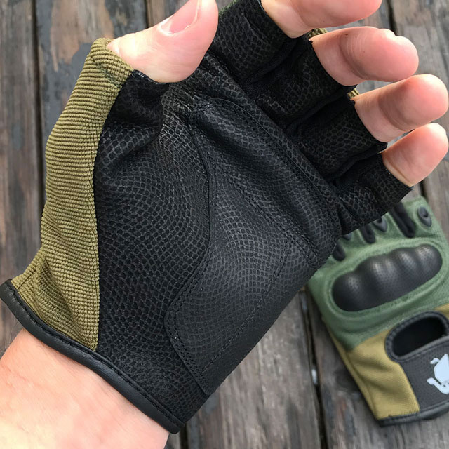 Super grip in palm area on a Short Finger Tactical Glove Green.