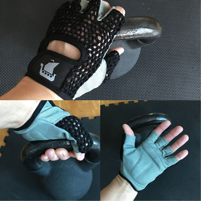 Training usage in three fields of a Training Glove Net Black in action.