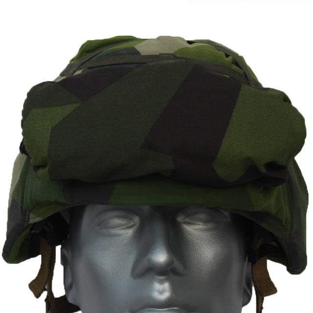 Showing the Goggle Cover M90 from the front when mounted on a helmet.