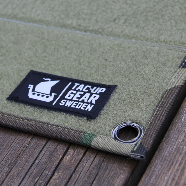 Tac-Up Gear logolabel on a Kardborre Wall Mat Display Green/Camo.