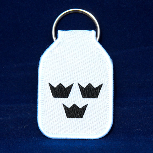 Keyring White With Crowns.
