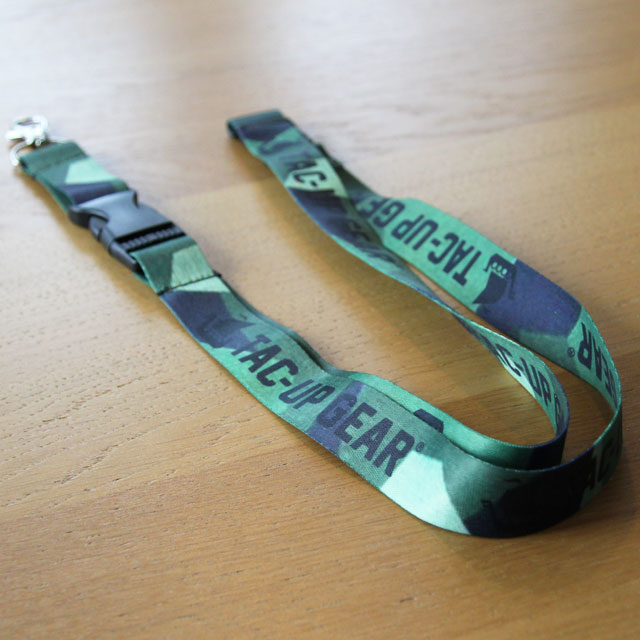 Our popular M90 Neck Lanyard during product photoshoot laying on the floor.
