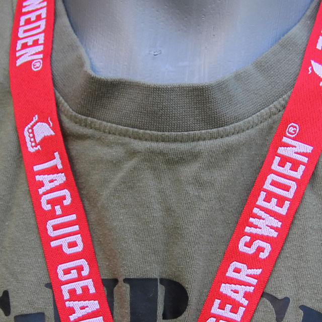 Logo and text on a Lanyard Red/White.