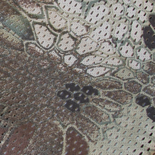 Close up of camouflage print on a Sniper Scarf Dragon.