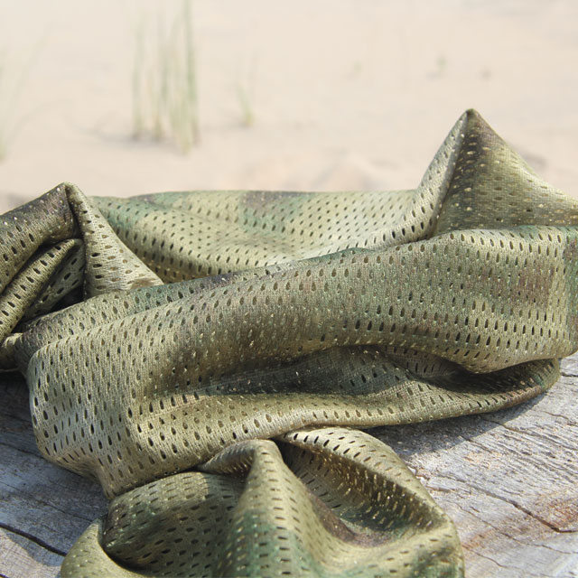 Sunny summer product photo of a Sniper Scarf Marshland.