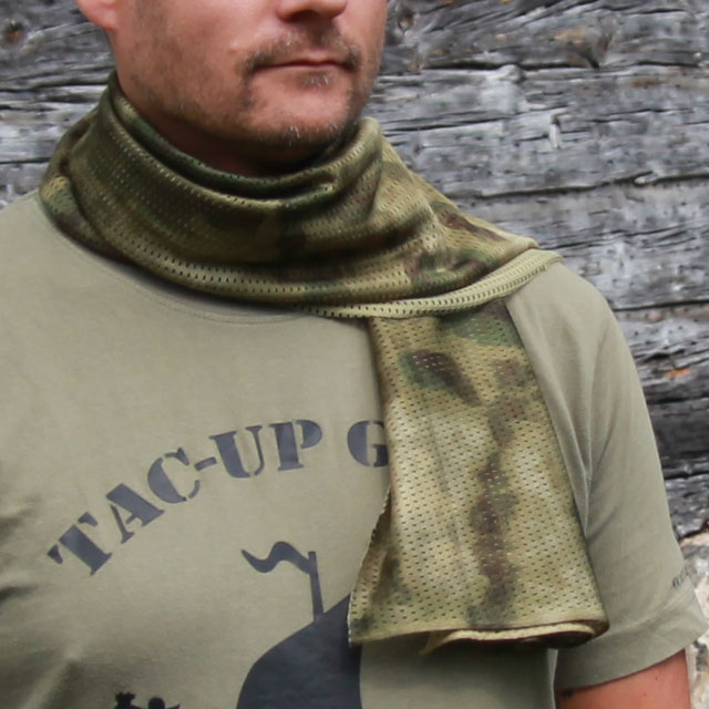 Casual wearing a Sniper Scarf Marshland draped around the neck.