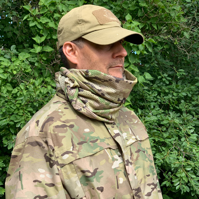 Shield your face and neck with a Mesh Scarf Multicam