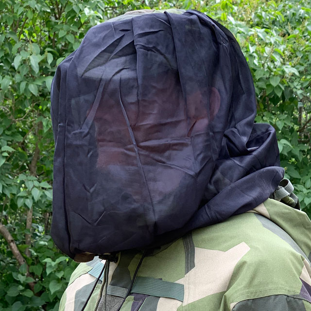 Mosquito Head Net Black/M90  draped over field cap