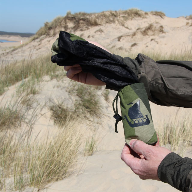 The Mosquito Head Net Black/M90 on its way out of its holding pouch