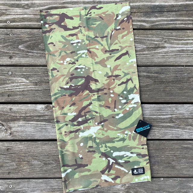 The Multiwrap Coolmax Camo from TAC-UP GEAR seen lying flat with Coolmax logo