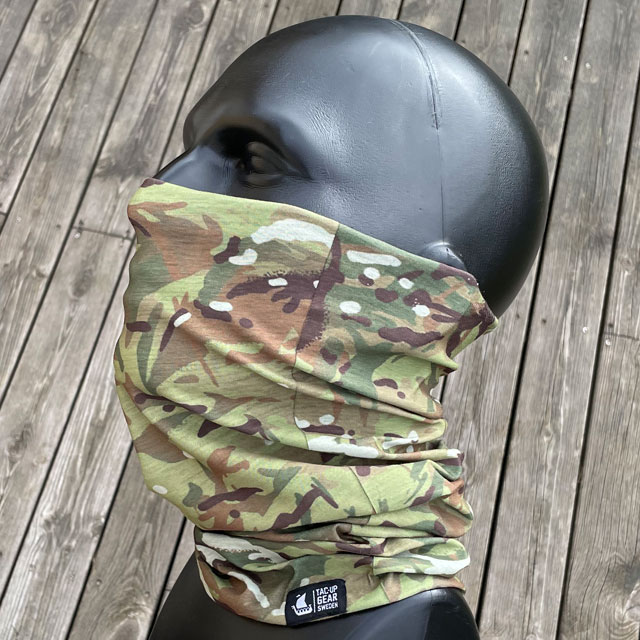 The Multiwrap Coolmax Camo from TAC-UP GEAR used seen from the side on mannequin