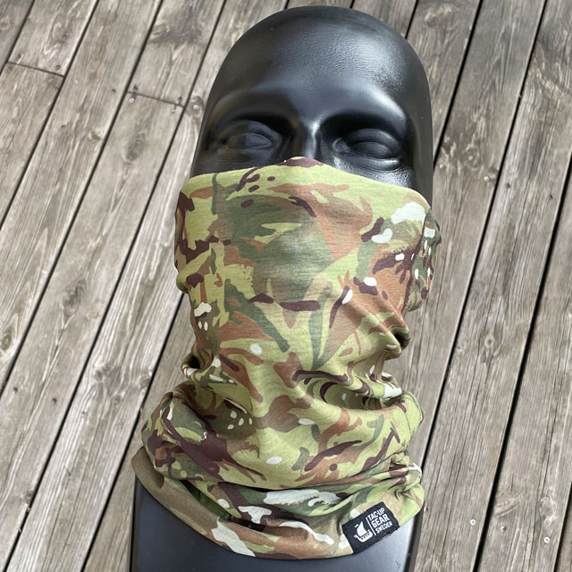 Multiwrap Coolmax Camo from TAC-UP GEAR seen from the front and covering face