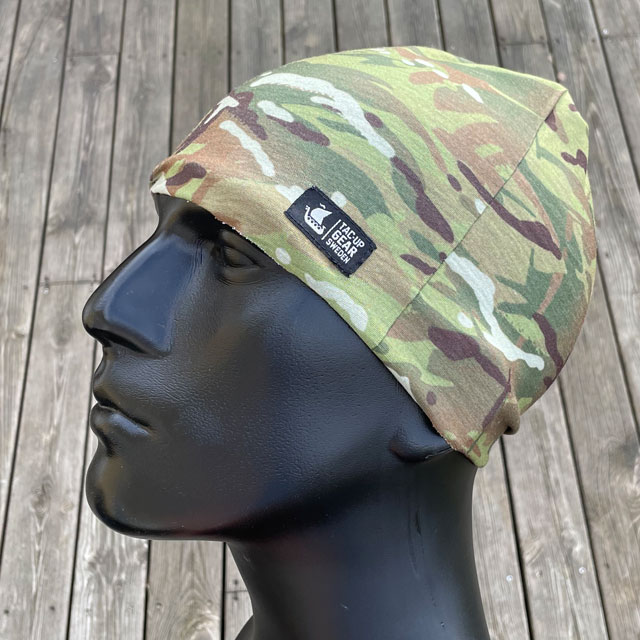 The Multiwrap Coolmax Camo from TAC-UP GEAR used as a beanie seen from the side