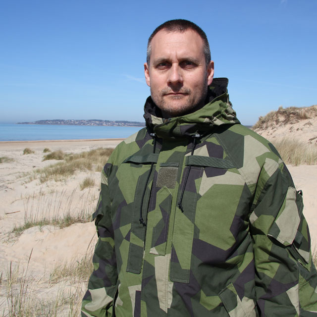 Full front picture on the beach wearing a NCWR Jacket M90 Gen 2