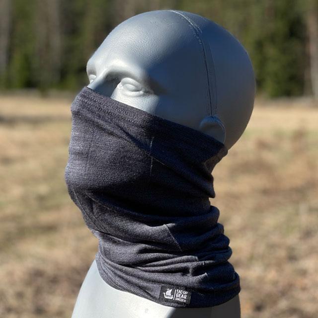 Neck Tube Merino Wool Grey around face on mannequin