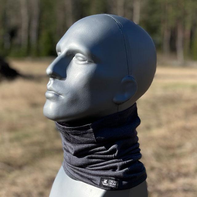 Neck Tube Merino Wool Grey around neck on mannequin