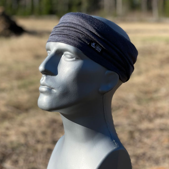 Neck Tube Merino Wool Grey from TAC-UP GEAR around head on mannequin