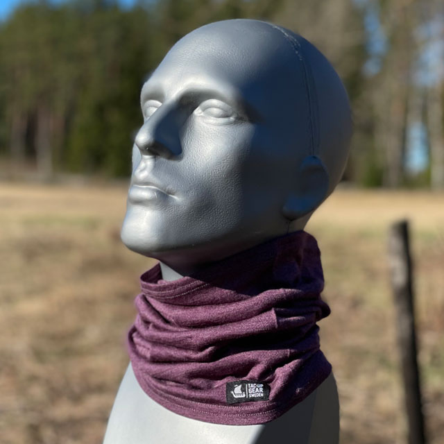 Neck Tube Merino Wool Purple from TAC-UP GEAR around neck on mannequin