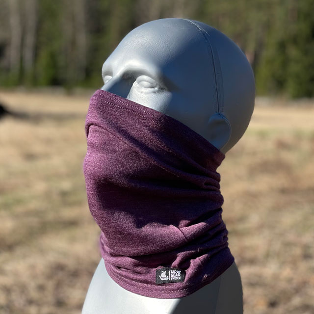Neck Tube Merino Wool Purple from TAC-UP GEAR around face on mannequin
