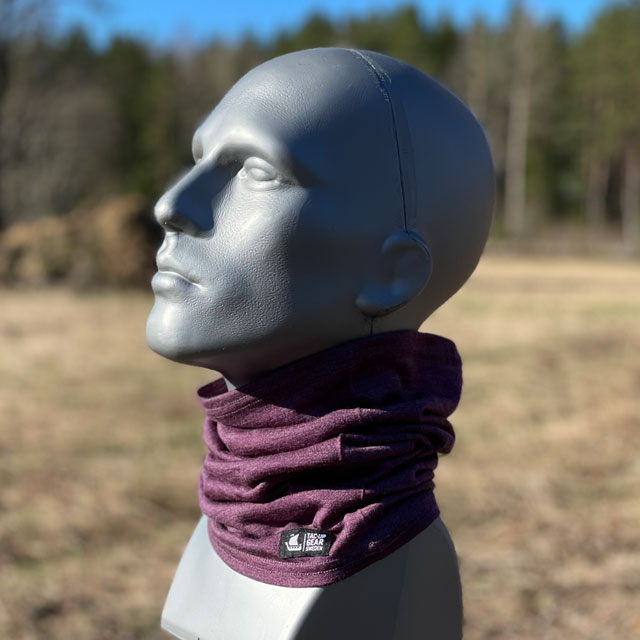 Neck Tube Merino Wool Purple from TAC-UP GEAR around neck on mannequin seen from the side