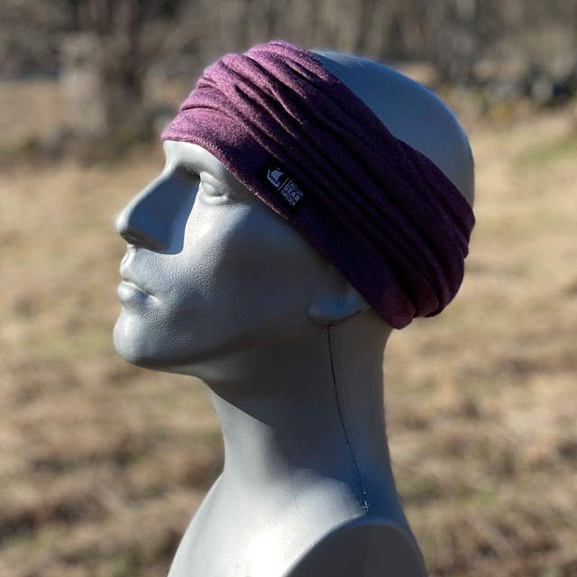 Neck Tube Merino Wool Purple from TAC-UP GEAR around head as a headband on mannequin