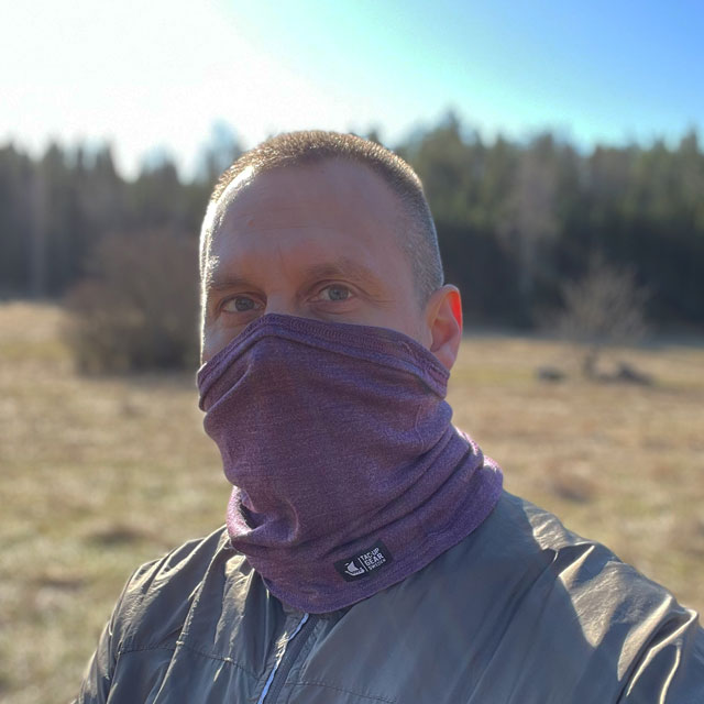 Neck Tube Merino Wool Purple from TAC-UP GEAR around face on man
